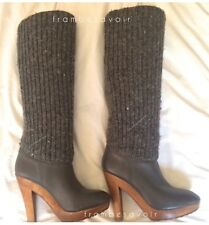 Michael Kors Daze leather knit trimmed leather high boots grey gray 36 6 fashion