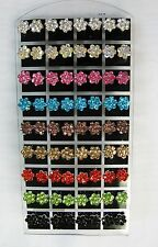 Wholesale Earrings 36 Pairs Flower Design Stud Earrings Mixed Colors # 0074 New