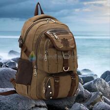 Men Women Vintage Canvas Backpack Rucksack Satchel Travel Hiking 13'' Laptop Bag