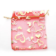 50x Red Heart Organza Pouch Gift Bags Wedding Favors 9x12cm Findings On Sale L