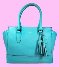 COACH 24201 Legacy Turquoise Leather Satchel Carryall Bag Bag Msrp $398 *60% OFF