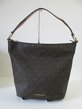 Michael Kors Elana Brown PVC Leather Large Shoulder Handbag $378.00