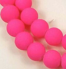 8mm Matte Frosted Glass Round Beads Dual Coated -  Hot Pink 16""