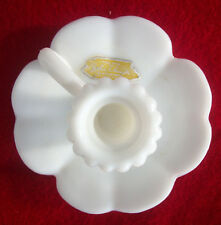 Vintage Kemple Opaque Milk Glass Candle Holder With Label