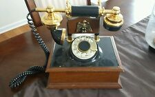 Western Electric Wood Brass Eagle Dial Rotary Desk Set Handset Telephone Decor