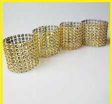 50 Rhinestone Bow Covers  8 Row  Gold wedding chair sash napkin rings / fastener