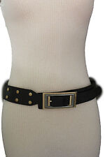 Women Black Fashion Belt Faux Snake Skin Leather Big Retro Gold Buckle Studs S M