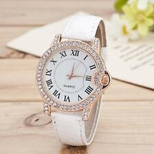 New Fashion Geneva Women Leather Stainless Steel Analog Diamond Wrist Watch