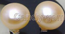 SALE 8-8.5mm Pink flat natural pearl earring & Silver 925 stud-ear307 Free ship