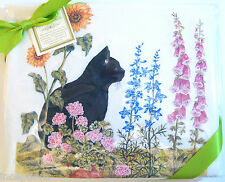 Set/2 Alice's Cottage Cotton Flour Sack Kitchen Tea Towel Black Cat - NEW