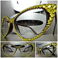 Womens VINTAGE 60s CAT EYE Style Clear Lens EYE GLASSES Yellow Crystals Handmade