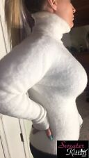 Ultra Thick & Fuzzy & Fluffy Fitted Angora Sweater With Tight & High Turtleneck