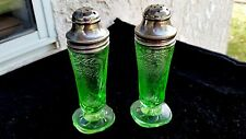 Green Royal Lace Depression Glass Salt & Pepper Shakers