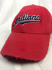 Distressed Cleavland Indians Fitted Hat Cap MLB Baseball Ripped Well Worn Nike
