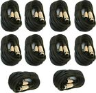 10 lot 25ft xlr male female 3pin MIC Shielded Cable microphone audio cord pack
