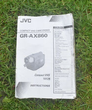 JVC GR-AX860 VHS CAMCORDER USER MANUAL (MANUAL ONLY)