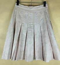 Anthropologie FEI Skirt Pink Scroll Baroque Print Pearl Accent Frayed Pleated 4