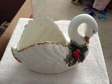 Ceramic swan dish with Holly on it