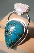 925 silver azurite & mosaic opal ring UK S/US 9.25