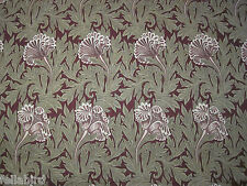 "WILLIAM MORRIS CURTAIN FABRIC DESIGN ""Tulip"" 3.6 METRES HEATHER/OLIVE (360 CM)"