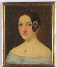 """Portrait of a young woman"", Austrian oil miniature, ca. 1850"