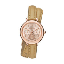 Michael Kors Women's Kohen Rose Gold Tone Double Wrap Taupe Leather Watch MK2406