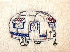 Set of Four Airstream Embroidered Hand Towels 100% Cotton  Vintage Trailer