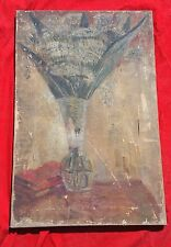 ANTIQUE BEAUTIFUL CANVAS OIL PAINTING OF VASE AND BOOKS ON TABLE