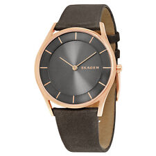 Skagen Holst Grey Dial Leather Ladies Watch SKW2346