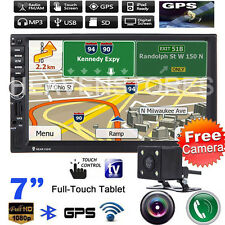 "Camera+ 7"" Double 2Din In Dash Car GPS Navi MP3 MP5 Player Touch Bluetooth Radio"