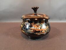 Vintage hand Painted Japanese Black lacquered Box 6 inches