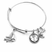 Sailboat Anchor Ring Dolphin Adjustable Wire Bangle Bracelet 2 Loop Silver