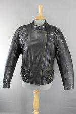 Classic British hecho Scott Cueros De Vaca cuero Biker Jacket Talla 16