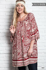 NWT UMGEE Plus Red Print 3/4 Sleeve Peasant Tunic XL 1025