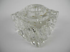 "Vintage 2.5""x 2.5"" Heavy Ribbed Crystal Inkwell"