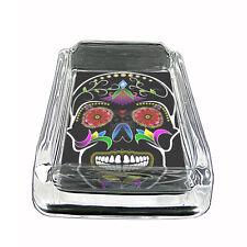 """Sugar Skull Glass Ashtray D8 4""""x3"""" Day of the Dead Skeletons Folk Art"""