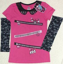 Monster High Zippers Girls Short Sleeved top t-shirt Size Medium (10-12) New NWT