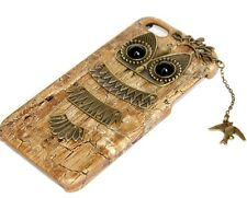 iPHONE 5 5S SE - HARD PROTECTOR ARMOR CASE COVER 2D BROWN BRONZE METAL OWL BIRD