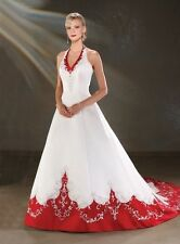 Vintage Halter Red and White Wedding Dresses Lace Embroidery Wedding Gowns