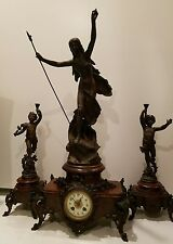 Moreau Sculpture French Marble Mantle Clock Set Cupid Statue