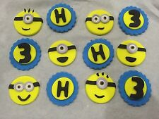 12 x Edible Minions cake topper cupcake decorations faces Letter & Number Set