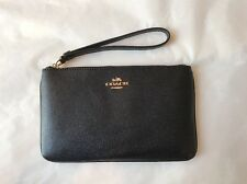NWT COACH LARGE WRISTLET IN CROSSGRAIN LEATHER F57465 Black Gift Receipt
