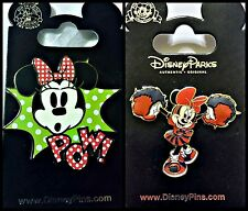 Disney Parks 2 Pin Lot Minnie Mouse POW + Cheerleader - new on card pins