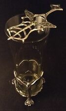 ABSINTHE GLASS & SPOON Made In England SILVER PEWTER Wicca ALCOHOL Green Fairy