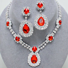 Glitzy Glamour - Red and clear diamante necklace set Brides/Bridesmaids/Proms