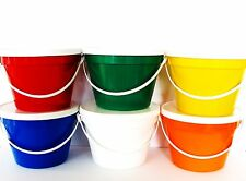 12 -1 GALLON PLASTIC BUCKETS LIDS 2 EACH COLOR MFG USA FOOD SAFE LEAD FREE