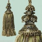 Divine French Provincial Fluer De Lys Olive Greeen Beaded Door Decorator Tassel