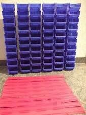 Stapelbox Gr.1 blau Sichtlagerkästen 30 Stück mit 6 Wandschienen