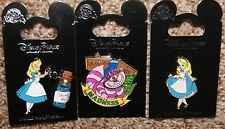 Disney Alice in Wonderland Drink Me Vial Cheshire Cat Spinner 3 Pin Set 1 Error