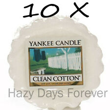 10 YANKEE CANDLE WAX TARTS MELTS Clean Cotton FREE P&P fresh linen scent
